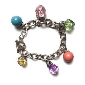 Women's Silver Chain Link Beaded Bracelet